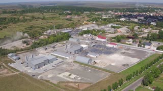 Aerial view Plant for the Production of Paving, Paving Slabs in 4k video shot