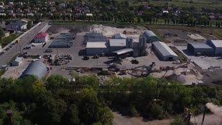 Aerial view Plant for the Production of Paving, Paving Slabs in 4k