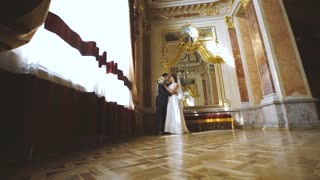 Bride and Groom Wedding Palace Interior. Beautiful Couple
