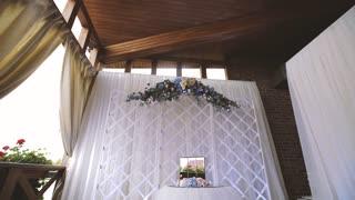 Flowers for Wedding Ceremony, Wedding Arch Background. Dolly shot