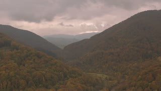 Fly to Carpathian mountains. Autumn in the mountains
