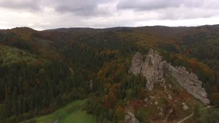 Flying Over the Forest and in Cloudy Weather Rock in FullHD
