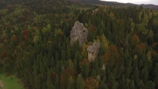 Flying Over the Forest and in Cloudy Weather Rock