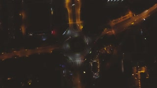 Highway Roundabout Traffic From Above Aerial night city Lviv