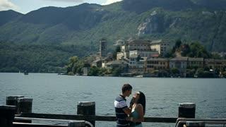 Loving Couple at Island. August 20, 2015 Arona city Slow motion