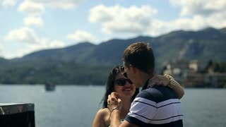 Loving Couple at Island. August 20, 2015 Arona city