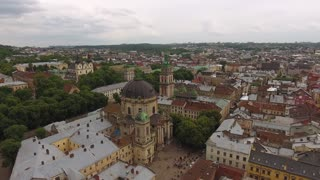 Lviv morning roofs aerial view, Ukraine Dominican