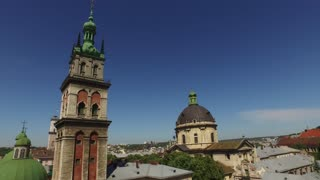 Lviv morning roofs and streets aerial view, Ukraine