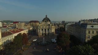 Lviv Opera. Aerial Old City Lviv, Ukraine. Central part of old city. European City. Densely populated areas of the city. Town hall