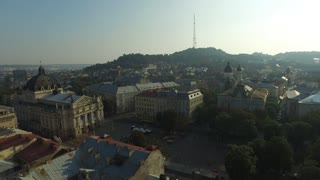 Lviv Opera. Aerial Old City Lviv, Ukraine. Central part of old city. European City. Densely populated areas of the city