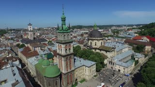 Lviv roofs and streets aerial view, Ukraine Dominican in Lviv