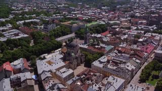 Lviv Roofs and Streets Aerial View, Ukraine Dominican Sobor in Lviv HD
