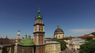 Lviv roofs and streets aerial view, Ukraine