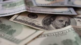 Macro shot of 100 dollars banknote