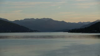 Sunset Time-Lapse of the Arona City, on the River in Italy