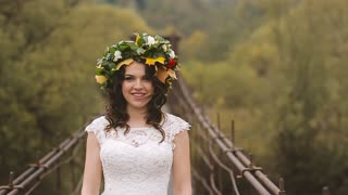 The Bride Goes to a Meeting With Her Lover. Wooden Bridge