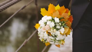 The Groom Leaves the Bridal Bouquet. Slow motion
