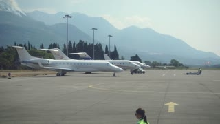 The Plane Prepares for Flight. Flight Over Montenegro. 4k ultrahd