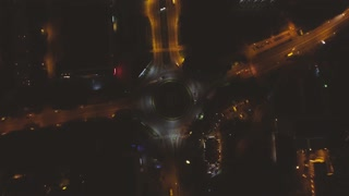Traffic From Above Aerial night city Lviv