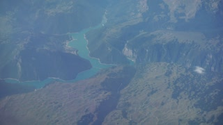 Traveling by air. View Through an Airplane Window. Montenegro. Tivat. 4k