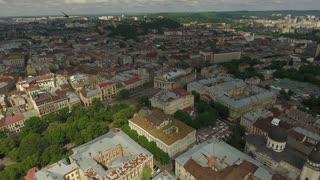 Aerial Old City Lviv, Ukraine