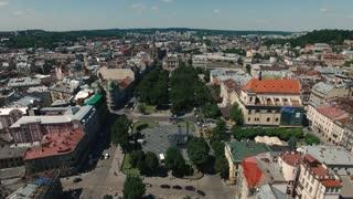 Aerial Old City Lviv Ukraine