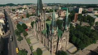 Church Aerial Old City Lviv, Ukraine.