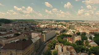 Lviv Opera Aerial Old City Ukraine. Central part of old city