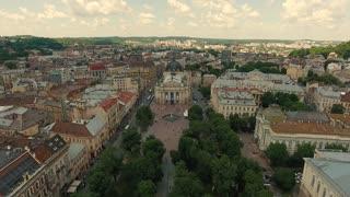 Lviv Opera Aerial Old City Ukraine