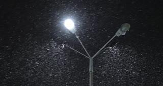 Night Winter Street Lamp With Falling Snow