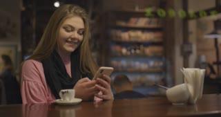 Woman using app on smartphone
