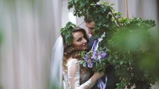 Wedding Bride and Groom on the Walk. Happy emotions