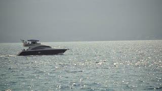 Yacht in the Boka bay, Montenegro, Adriatic in September 2016