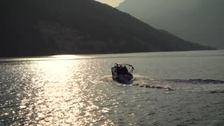 Yacht Sailing on the Bay at Sunset in Tivat, Montenegro