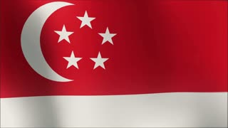 A beautiful satin finish looping flag animation of Singapore.