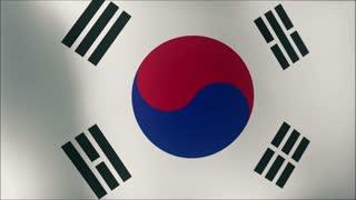 A beautiful satin finish looping flag animation of South Korea.