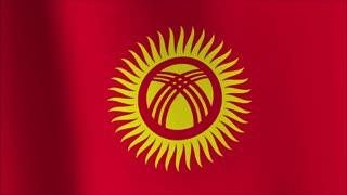 animated flag of Kyrgyzstan - seamless loop