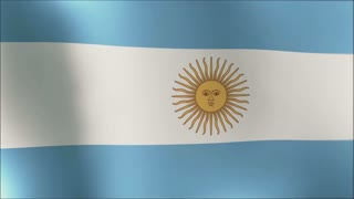 Creased argentina cotton  flag with visible wrinkle and seams 4K loop