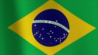 Creased Brazil satin flag with visible wrinkle and seams 4K 100% loop