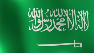 Creased Saudi Arabia cotton flag with visible stitch and seams in slow motion 4k loop