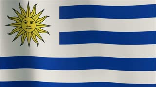Creased URUGUAY flag in slow motion with visible wrinkles and seams