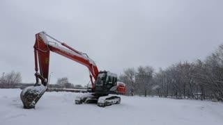 excavator in winter