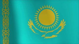 Flag of Kazakhstan gently waving in the wind.