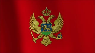 Flag of Montenegro Beautiful 3d animation of the Montenegro flag in loop mode 4k