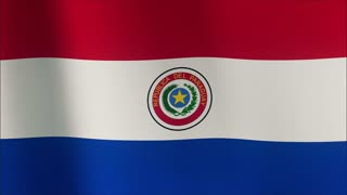 Flag of Paraguay Beautiful 3d animation of Paraguay flag in loop mode 4k