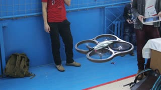 flight quadrocopter. Test drone. robotic festival. competition between boys