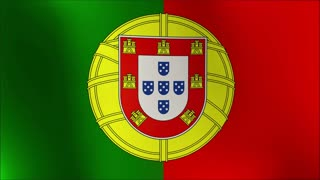 Highly detailed Portuguese flag ripples in the wind. Looped 3d animation for continuous playback 4k