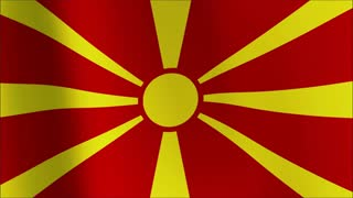 Macedonia Flag waving in the wind in sun rise, Close up of the Macedonia  flag waving in sun rise, seamless loop with highly detailed fabric texture