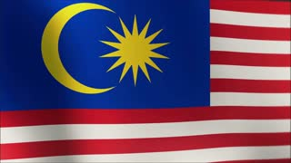National flag of Malaysia waving in the wind