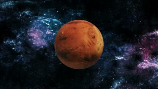 Planet Mars rotating in space
